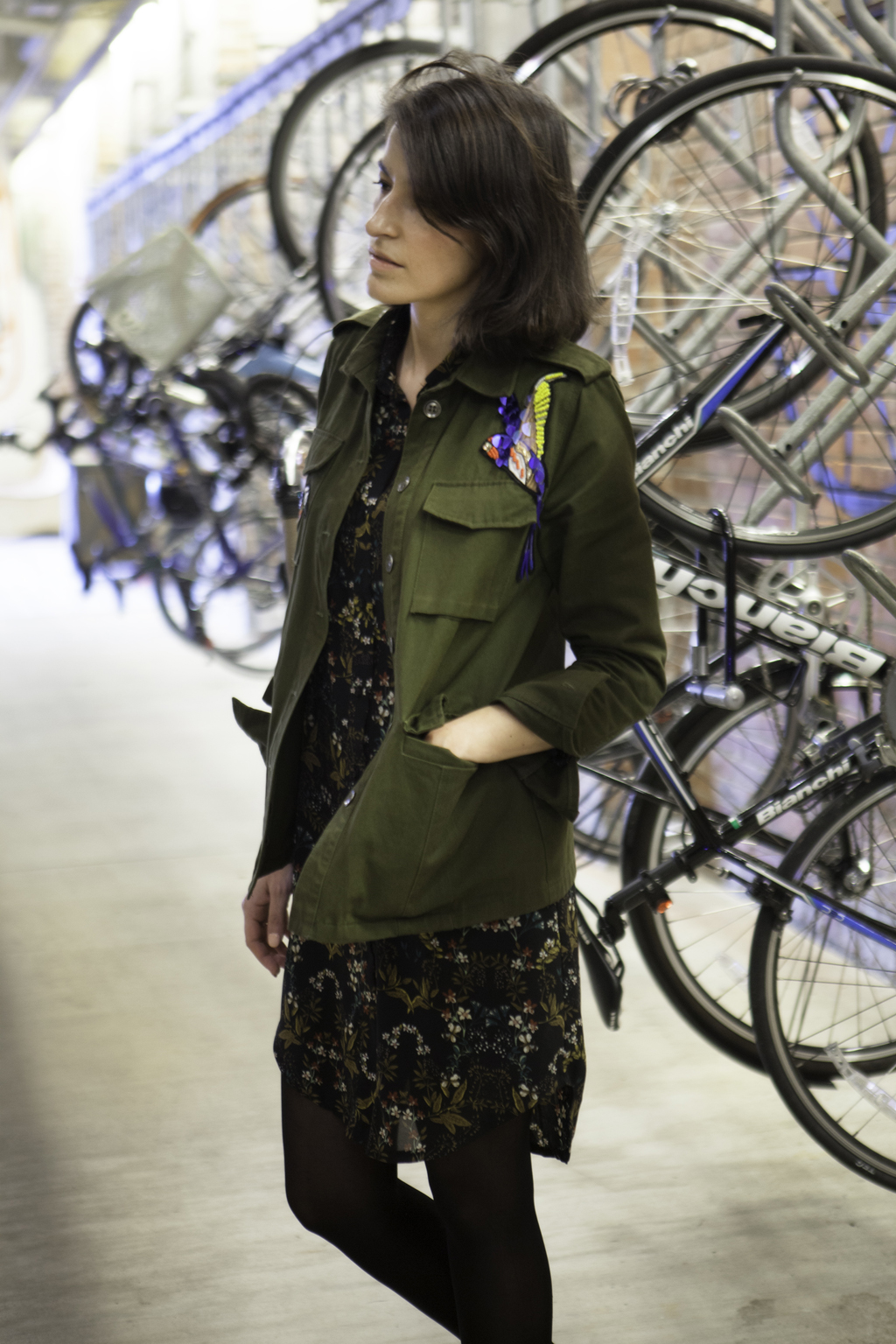 Indigo Style patched jacket with floral shirt dress #30wears