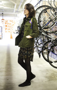 Style Indigo Green jacket with patches. DIY project. Japanese-inspired dress