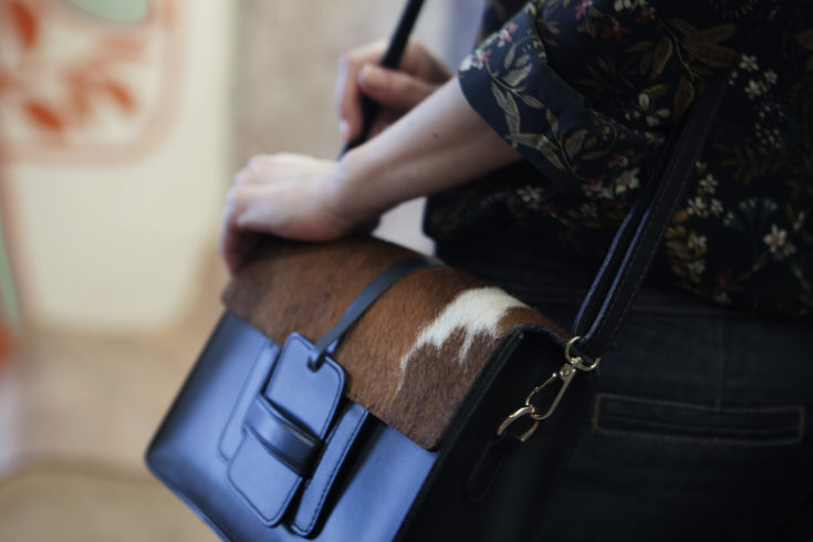 Style Indigo Italian Leather handbag different textures